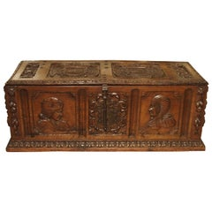 Antique Walnut Wood Renaissance Style Armorial Trunk from Spain