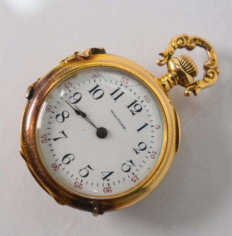 Antique Waltham Watch Co. Ladies 14 Karat Yellow Gold Diamond Watch Brooch For Sale 6
