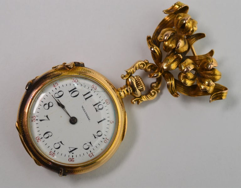 Antique Waltham Watch Co. Ladies 14 Karat Yellow Gold Diamond Watch Brooch For Sale 10
