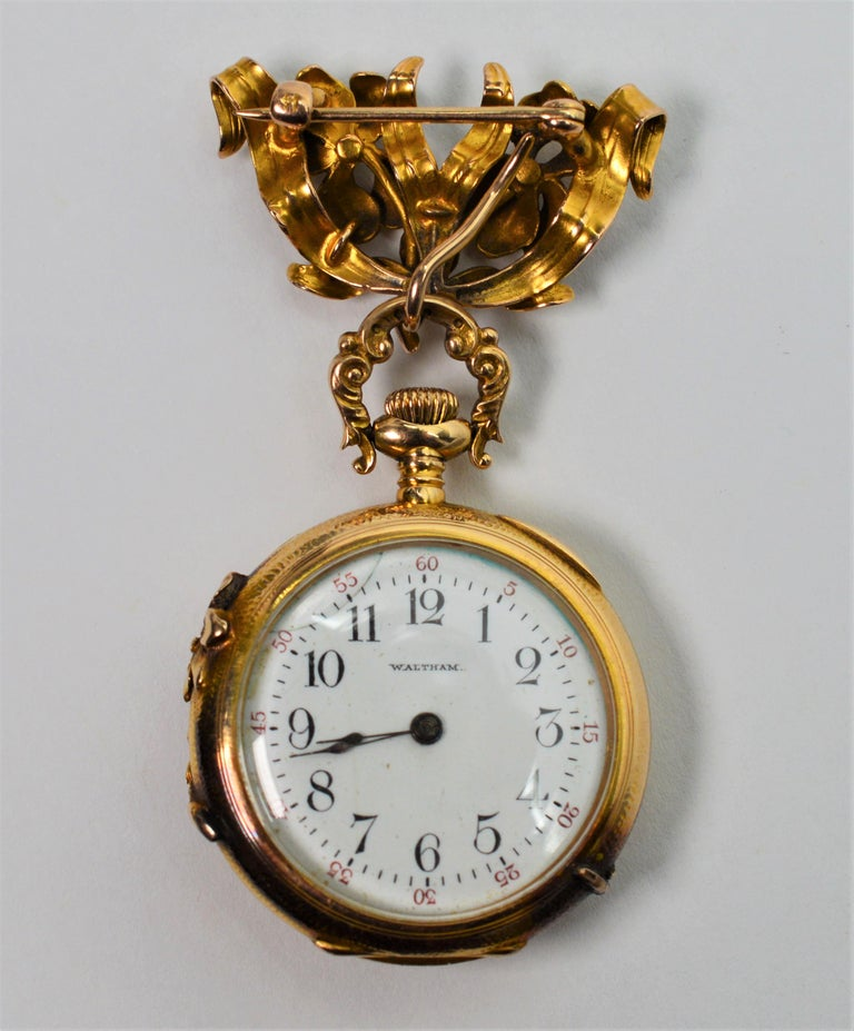 Antique Waltham Watch Co. Ladies 14 Karat Yellow Gold Diamond Watch Brooch For Sale 3