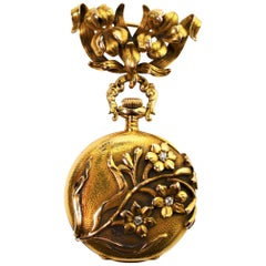 Antique Waltham Watch Co. Ladies 14 Karat Yellow Gold Diamond Watch Brooch