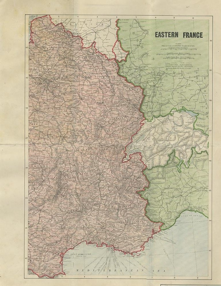 Large folding map depicting various European regions including east France, south west Germany, borders of Russia, North Sea, Baltic Sea, Kiel Canal, Belgium and the Netherlands. Published on linen by W. & A.K. Johnston.