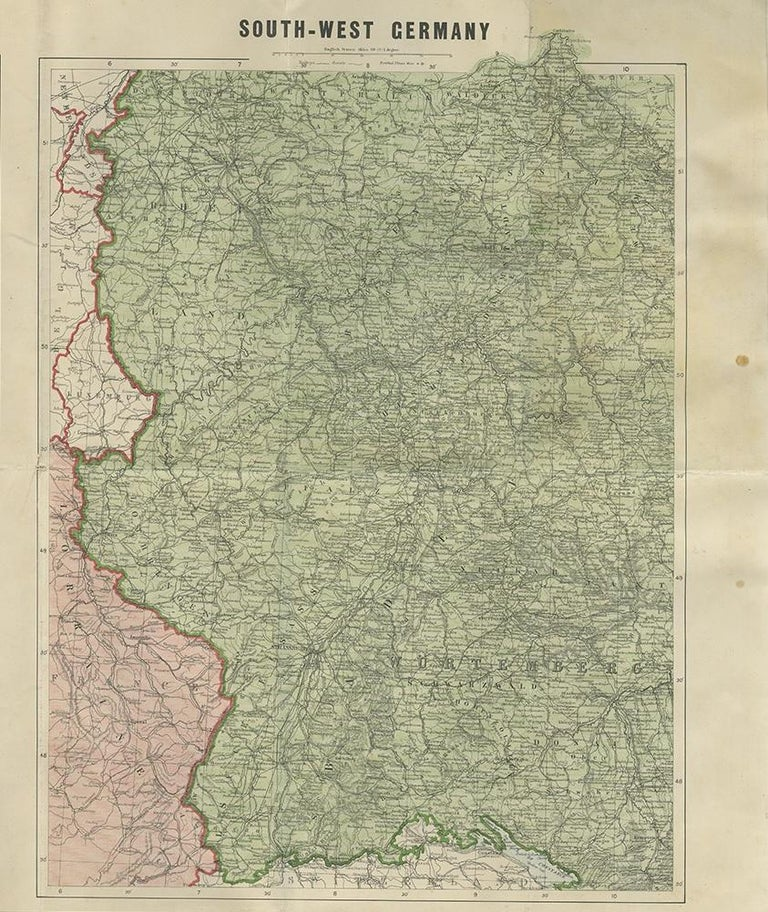 Antique War Map by Johnston, circa 1914 In Good Condition For Sale In Langweer, NL