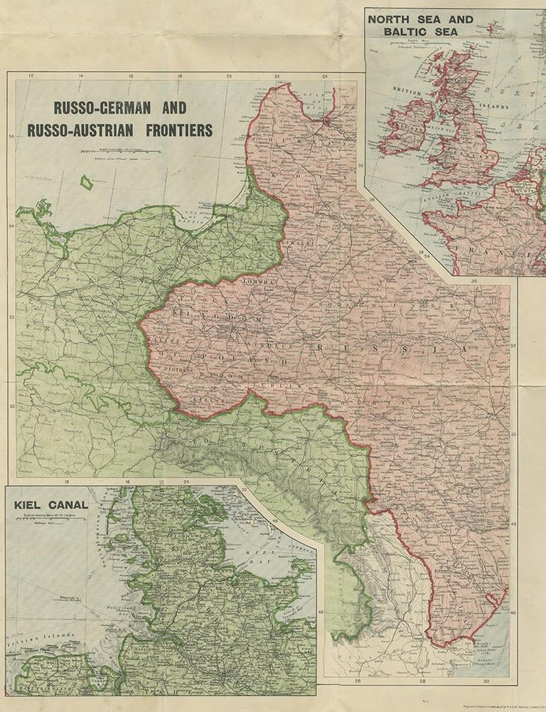 20th Century Antique War Map by Johnston, circa 1914 For Sale