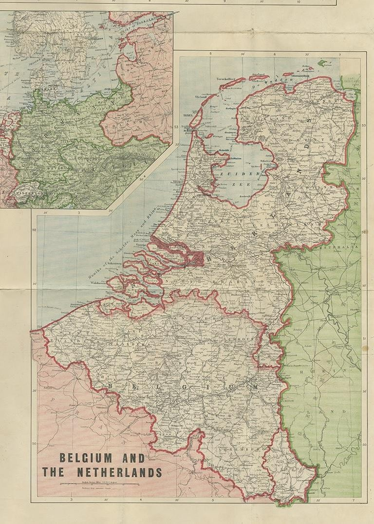 Antique War Map by Johnston, circa 1914 For Sale 1