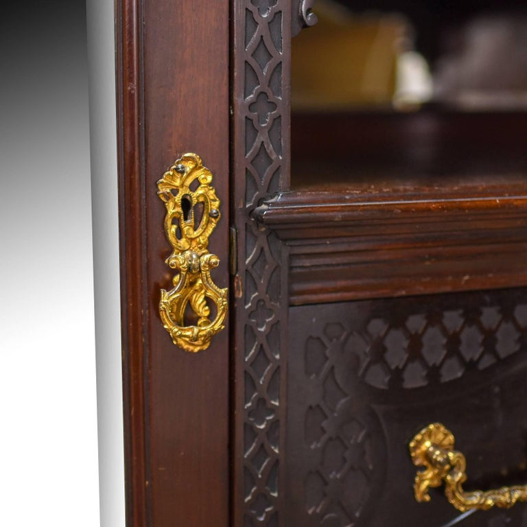 20th Century Antique Wardrobe, Carved Mahogany, English, Compactum, Edwardian, circa 1910 For Sale