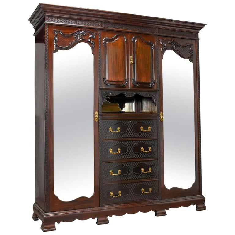 Antique Wardrobe, Carved Mahogany, English, Compactum, Edwardian, circa 1910 For Sale