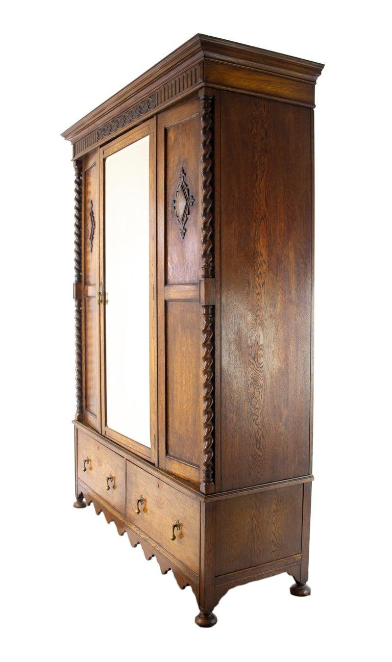 . Antique Wardrobe  Carved Oak Armoire  Barley Twist  Scotland  1910