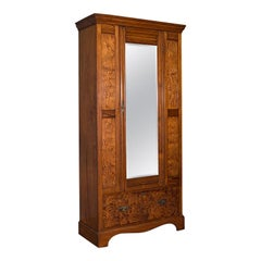Antique Wardrobe, English, Pitch Pine, Closet, Dressing Mirror, Victorian, 1900