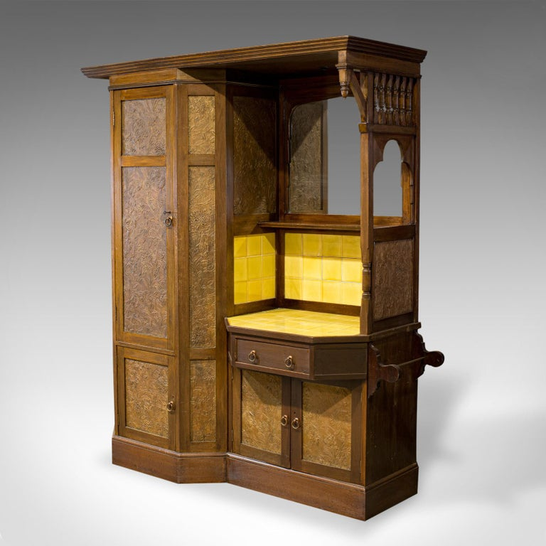 British Antique Wardrobe English Walnut, Art Deco, Vanity, Liberty of London, circa 1920 For Sale