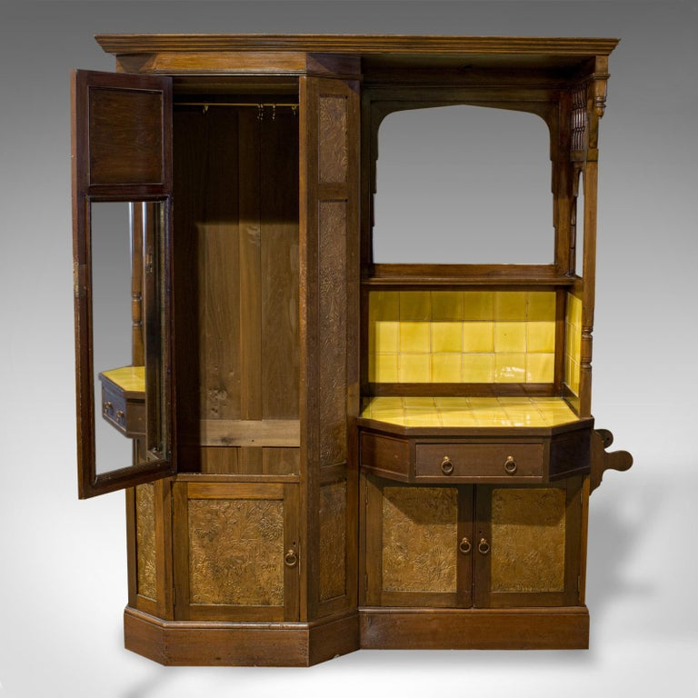 20th Century Antique Wardrobe English Walnut, Art Deco, Vanity, Liberty of London, circa 1920 For Sale