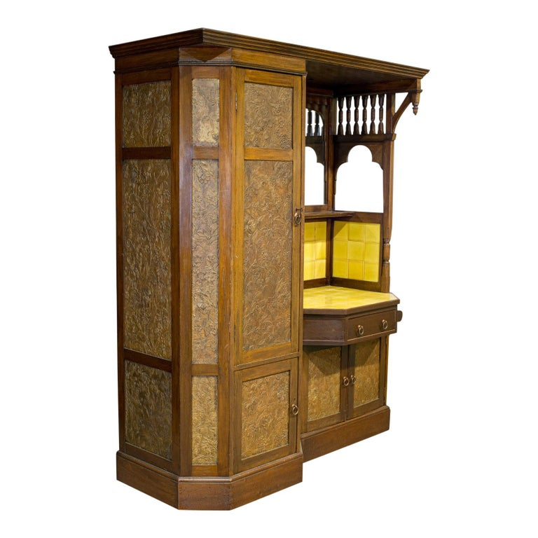 Antique Wardrobe English Walnut, Art Deco, Vanity, Liberty of London, circa 1920 For Sale