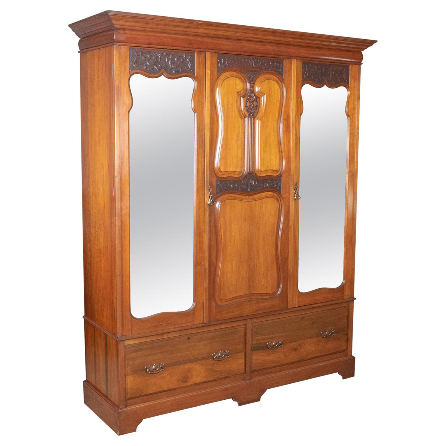 Antiques 100% Quality Antique Edwardian Wardrobe Carved Mahogany Mirror Triple Armoire Moderate Price