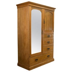 Antique Wardrobe, Howard and Sons, London, Oak, Linen Cupboard, circa 1900