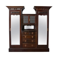 Antique Wardrobe, Maple and Co English Mahogany Victorian Art Nouveau circa 1880