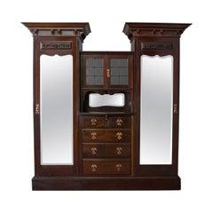 Antique Wardrobe, Maple and Co English Mahogany Victorian Art Nouveau circa 1880