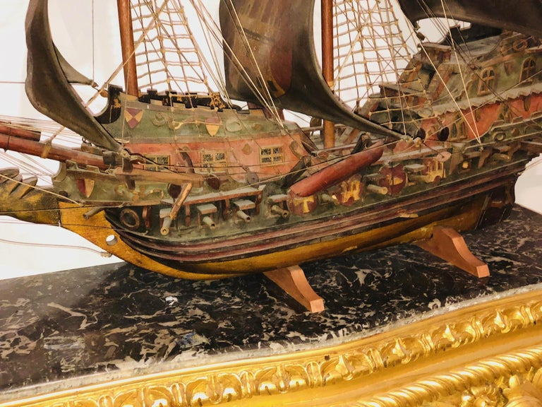 Antique Warship of Spanish Armada Vessel from Antiquités Delalande For Sale 2