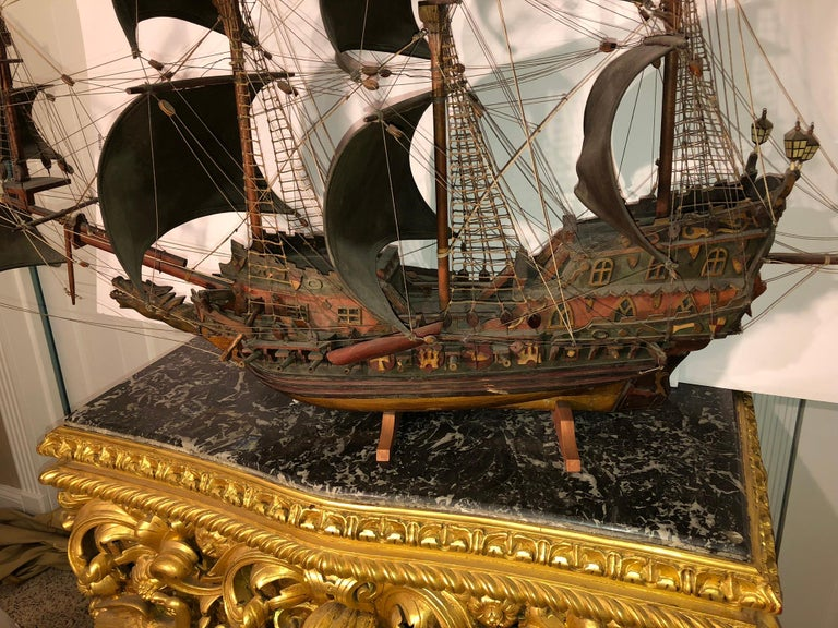 Antique Warship of Spanish Armada Vessel from Antiquités Delalande For Sale 3