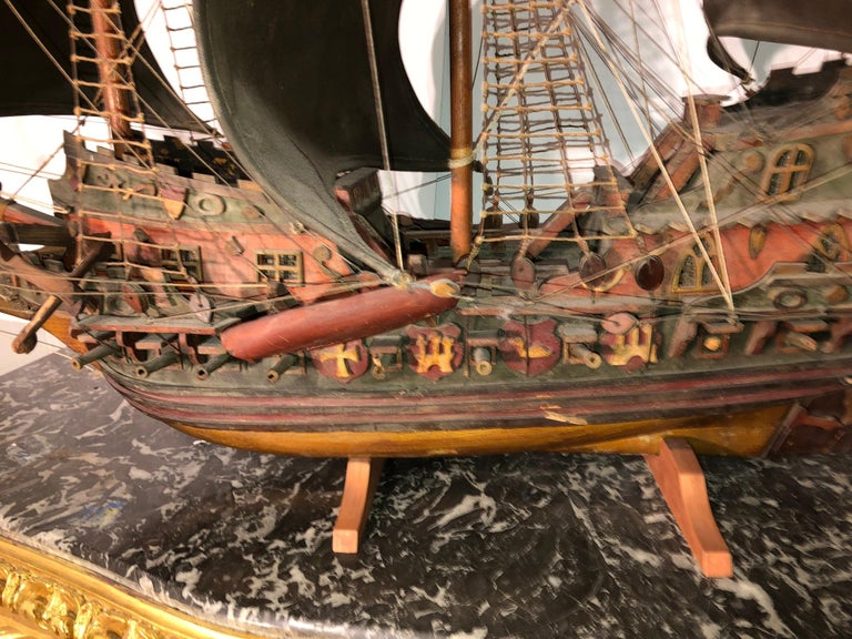 Antique Warship of Spanish Armada Vessel from Antiquités Delalande For Sale 4