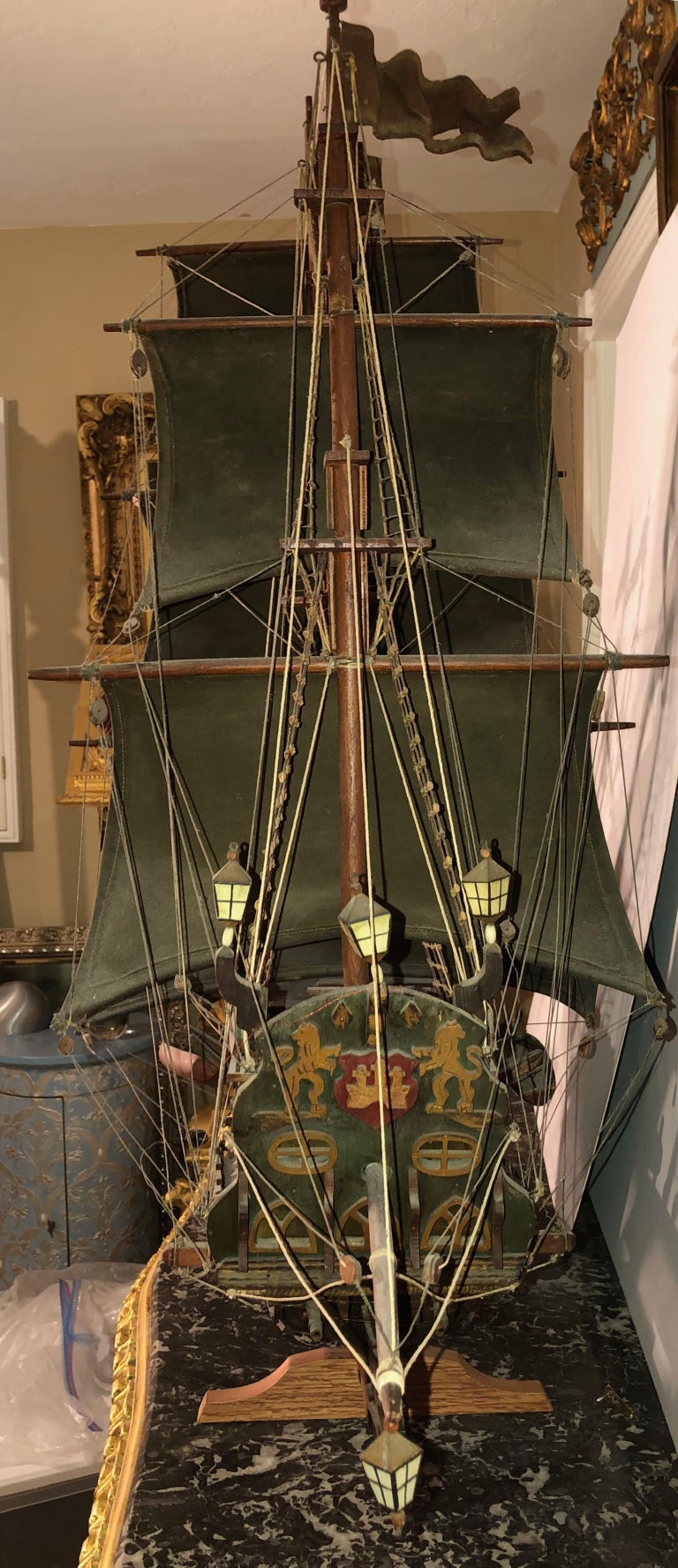 Antique Warship of Spanish Armada Vessel from Antiquités Delalande For Sale 7
