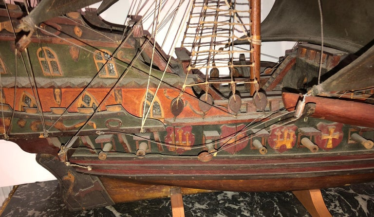 English Antique Warship of Spanish Armada Vessel from Antiquités Delalande For Sale