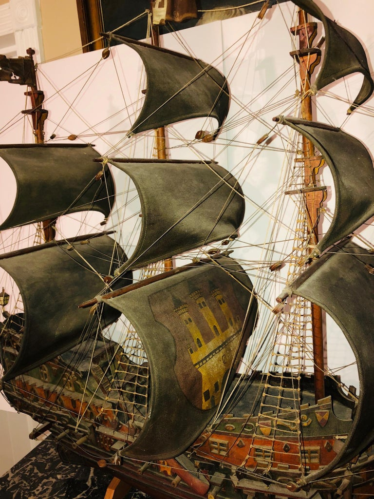 Hand-Crafted Antique Warship of Spanish Armada Vessel from Antiquités Delalande For Sale