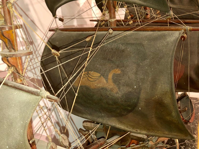 Antique Warship of Spanish Armada Vessel from Antiquités Delalande In Good Condition For Sale In Fort Lauderdale, FL