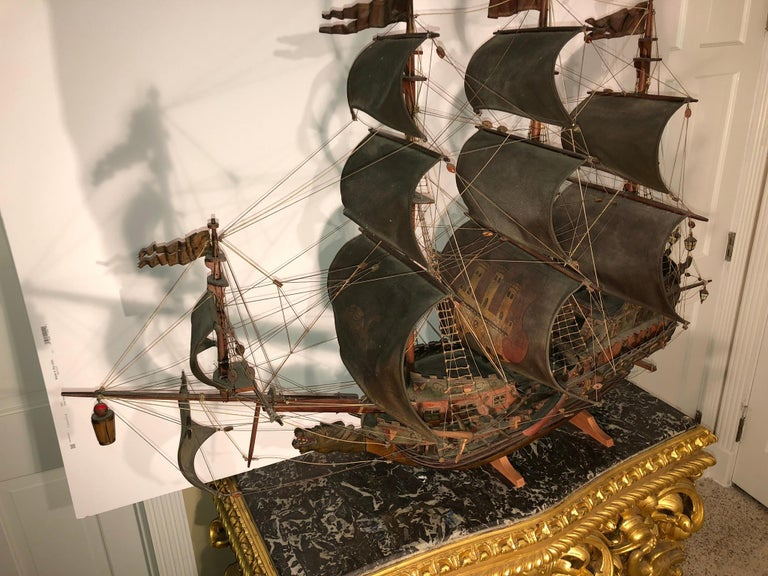 Antique Warship of Spanish Armada Vessel from Antiquités Delalande For Sale 1