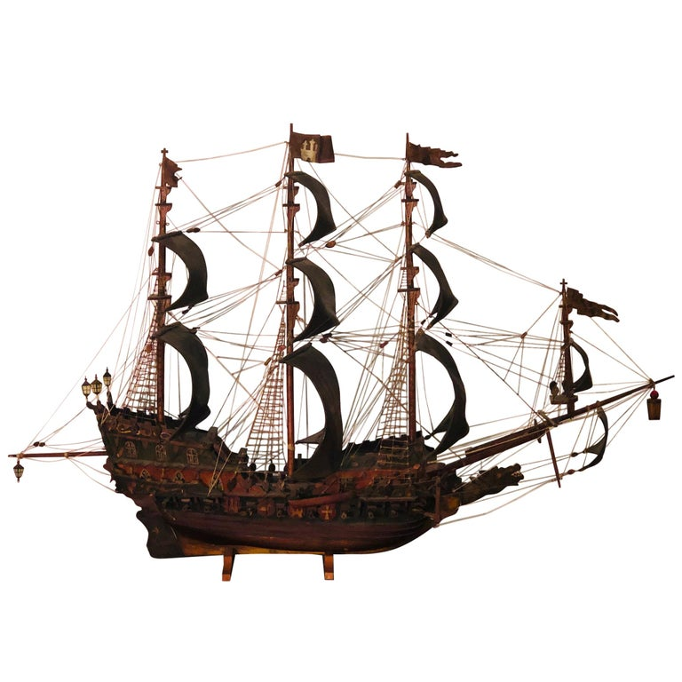 Antique Warship of Spanish Armada Vessel from Antiquités Delalande For Sale