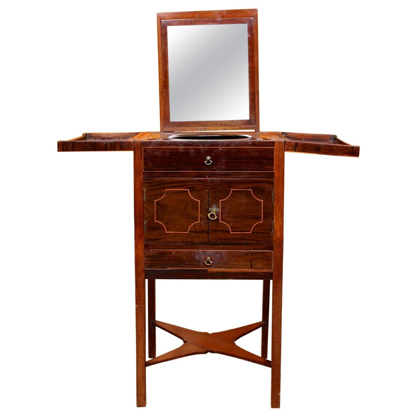 Antique Washstand Shaving Vanity Mirror Stand C1780 Mahogany Bathroom Cabinet