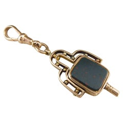 Antique Watch Fob, Cornelian and Bloodstone, Rose Gold, circa 1910s
