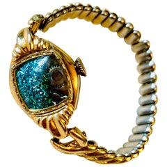 Antique Watch Talisman Bracelet Forest Green