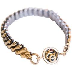 Antique Watchband Glass Enamel 10k Gold Snake Motif Ruby Eye