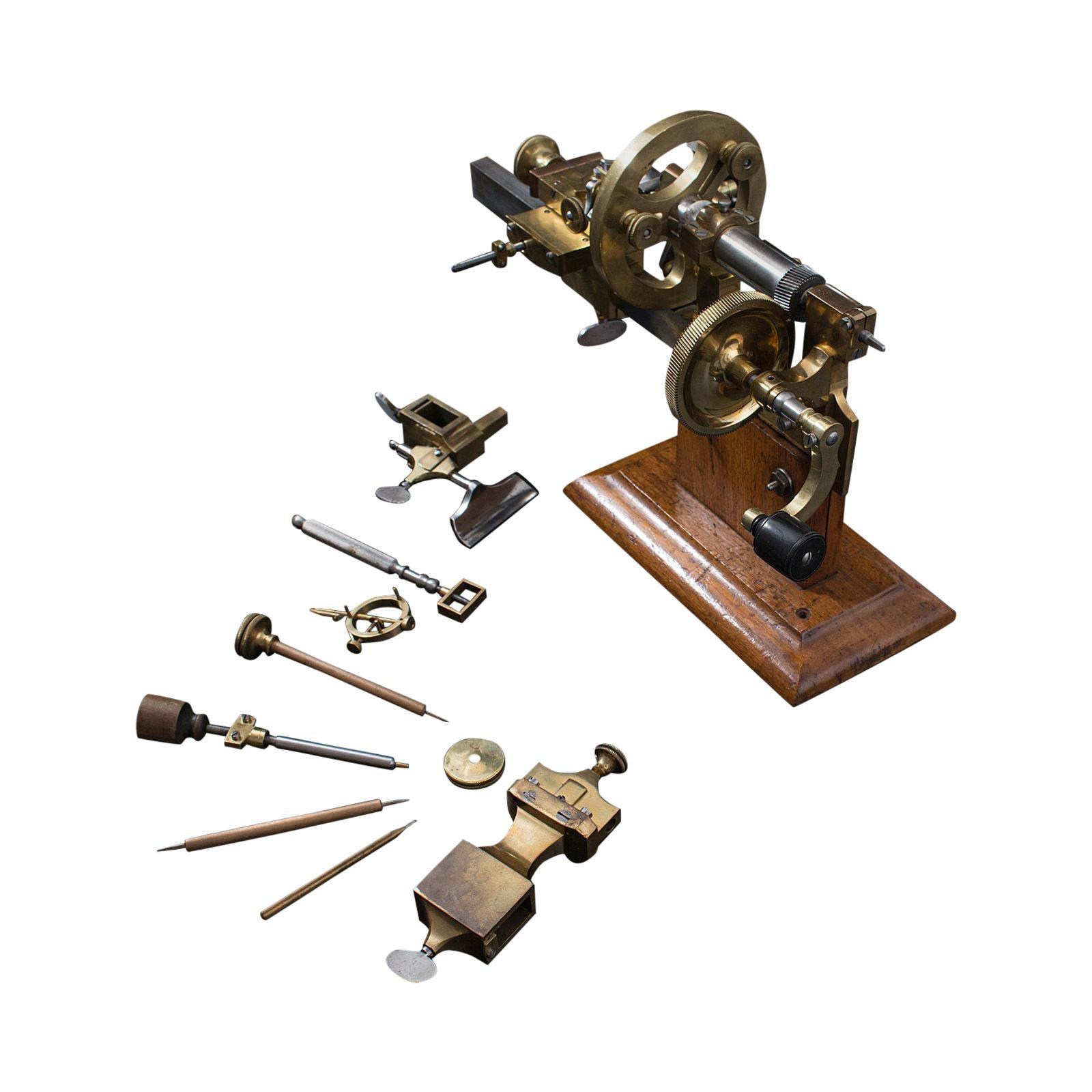 Antique Watchmaker's Lathe, Swiss, Brass, Copper Precision Instrument circa 1900
