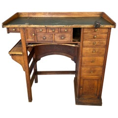 Antique Watchmaker's or Jeweler's Oak Workbench or Tall Desk, 1920s