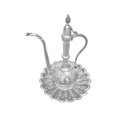 Antique Water and Bowl Set of Persian Silver Extremely Detailed Hand Carved