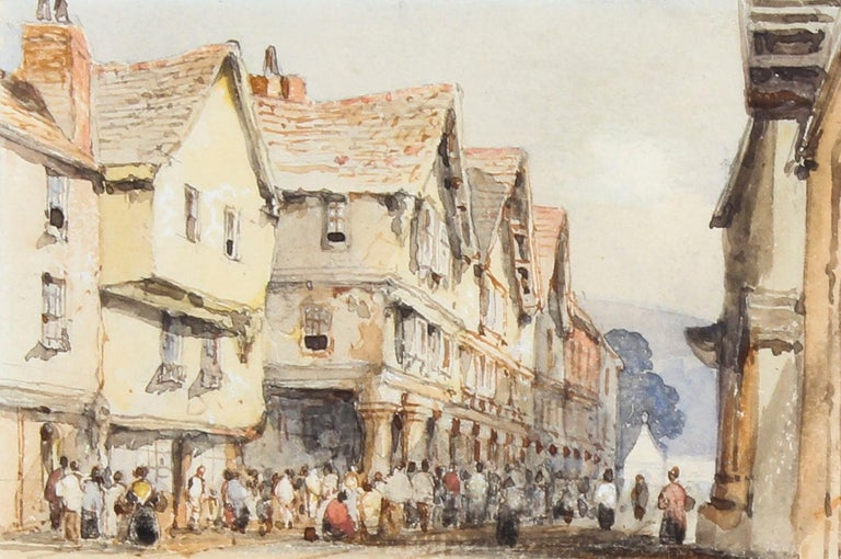 English Antique Watercolor by George Pyne 19th Century For Sale