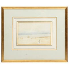 Antique Watercolor by R. E. Walker, 19th Century in Date