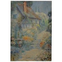 Antique Watercolor of an English Country Cottage, 19th Century
