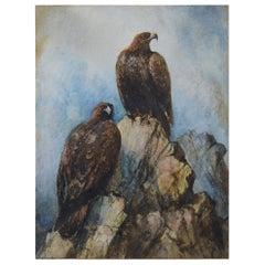 Antique Watercolor of Golden Eagles, 19th Century