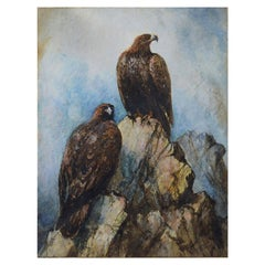 Antique Watercolor of Golden Eagles, 19th Century
