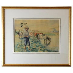 Antique Watercolor Painting, by Danish Artist Ina Hyldahl, Denmark, 1920