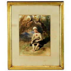"Antique Watercolour Painting ""Girl in Forest"", circa 1850s"