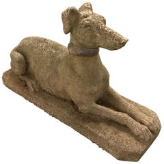 Antique Weathered Cast Concrete Dog Garden Sculpture