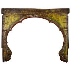 Antique Weathered Mihrab Teak Arch, 20th Century
