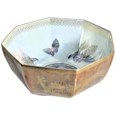 Antique Wedgewood Dragons and Butterflies Lustre Octagonal Bowl