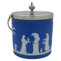 Antique Wedgwood Biscuit Barrel in Blue Jasper and Silver-Plate