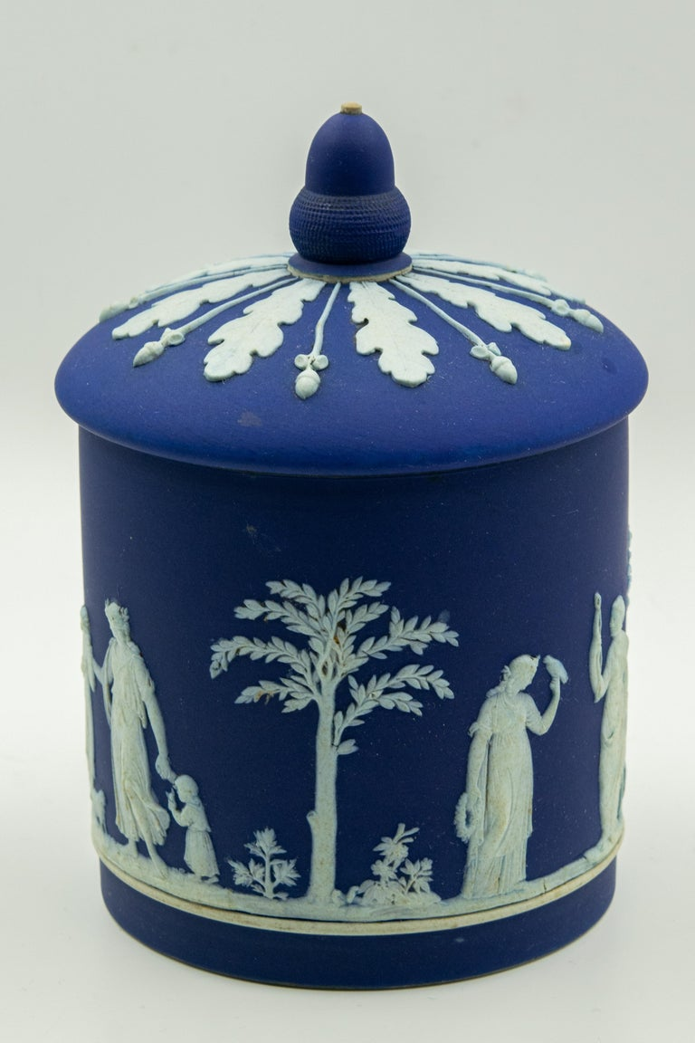 Neoclassical Antique Wedgwood Dark Cobalt Blue Jasperware Acorn Biscuit Barrel Cookie Jar