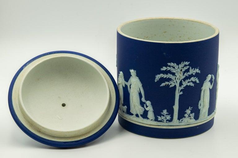 20th Century Antique Wedgwood Dark Cobalt Blue Jasperware Acorn Biscuit Barrel Cookie Jar