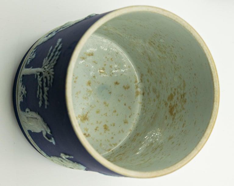 Porcelain Antique Wedgwood Dark Cobalt Blue Jasperware Acorn Biscuit Barrel Cookie Jar